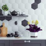 credence hexagones blanc et noir