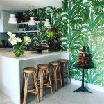 cuisine mur imprimé tropical